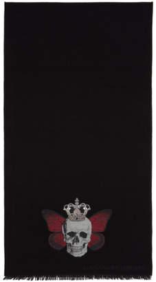 Alexander McQueen Black Monarch Skull Scarf