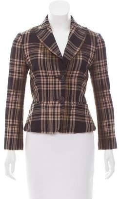 Bottega Veneta Plaid Wool Blazer