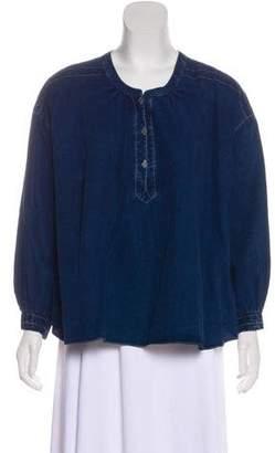 MiH Jeans Denim Long Sleeve Top