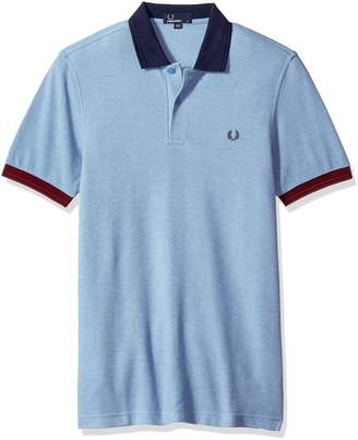 Fred Perry Colour Block Pique Short Sleeve Sky Blue 100% Cotton Shirt