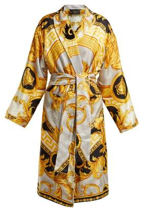 Versace La Coupe Des Dieux Baroque Print Silk Robe - Womens - Grey Gold