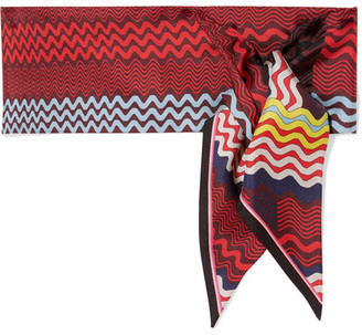 Missoni - Printed Silk-twill Scarf - Burgundy $120 thestylecure.com