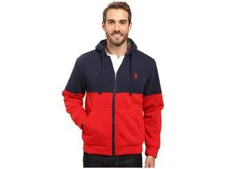 U.S. Polo Assn. Color Block Sherpa Hoodie Men's Sweatshirt