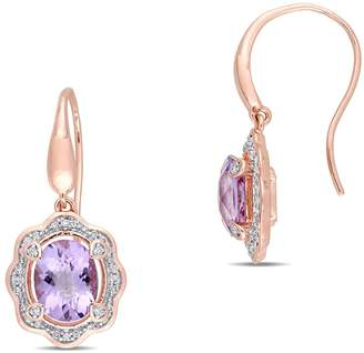 Concerto Sterling Silver, Amethyst Drop Earrings with 0.2 CT. T.W. Diamonds