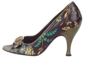 Dolce & Gabbana Floral Peep-Toe Pumps