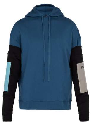 Raf Simons - Cotton Hoodie With Detachable Sleeves - Mens - Dark Navy