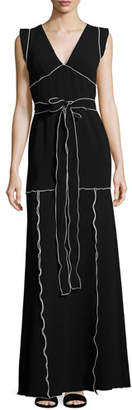 Moschino Flutter-Sleeve Contrast-Piped Knit Maxi Dress