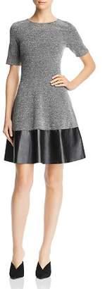 Aqua Tweed Faux Leather-Hem Skater Dress - 100% Exclusive