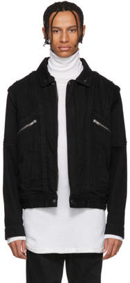 Givenchy Black Denim and Shearling Biker Jacket