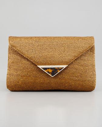 Elaine Turner Designs Bella Raffia Envelope Clutch Bag, Tobacco
