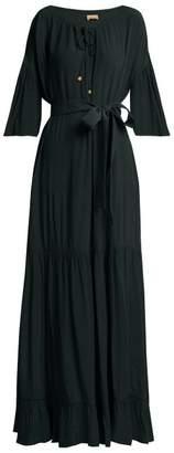 Albus Lumen - Lolita Bell Sleeved Tiered Dress - Womens - Dark Green