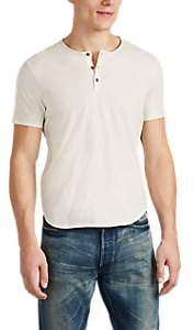 John Varvatos Men's Slub Cotton Henley - White