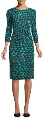 Nic+Zoe Round-Neck 3/4-Sleeve Vivid-Print Twist-Front Dress, Plus Size