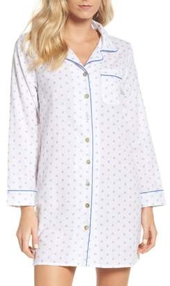 LOUNGERIE Print Washed Cotton Sleep Shirt