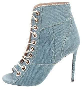 Barbara Bui Denim Peep-Toe Ankle Boots