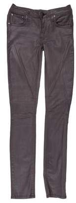Helmut Lang Coated Low-Rise Skinny Jeans