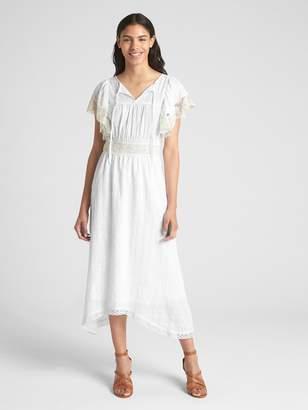 Gap Lace-Trim Flutter Sleeve Midi Dress
