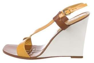 Louis Vuitton Patent Leather Strap Wedge Sandals