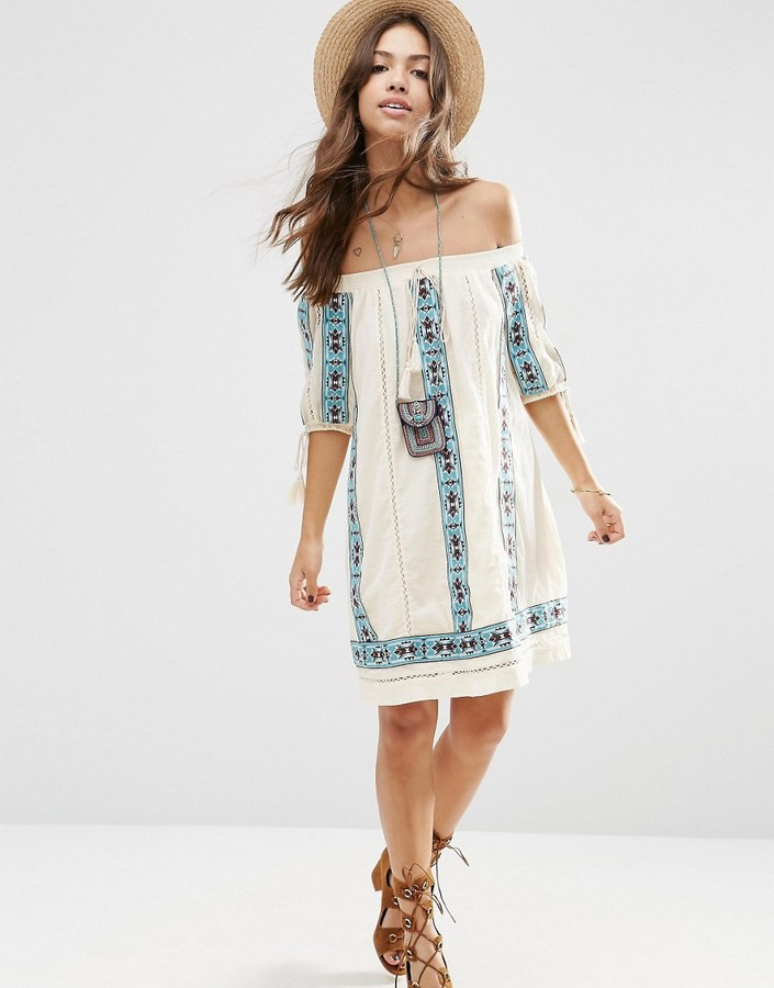 Asos ASOS PREMIUM Off Shoulder Swing Dress With Geo-Tribal Embroidery