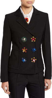 Escada Jewel-Snaps Double-Breasted Jacket