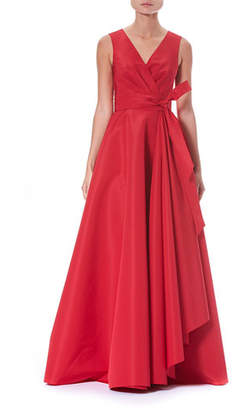 Carolina Herrera V-Neck Wrap Side-Ruffle Evening Gown