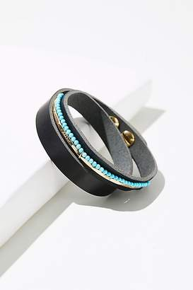 Taylor & Tessier Luis Leather Stone Wrap Cuff
