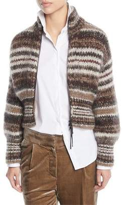 Brunello Cucinelli Zip-Front Striped Mohair Cardigan