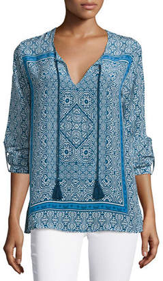 Tolani Virginia Long-Sleeve Printed Tunic, Navy