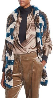 Brunello Cucinelli Shawl-Collar Paillette Cashmere-Blend Cable-Knit Cardigan