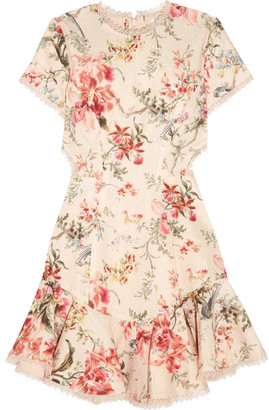 Zimmermann - Mercer Lace-up Floral-print Linen And Cotton-blend Mini Dress - Cream $695 thestylecure.com