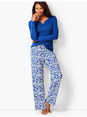 Talbots Pajama Set - Knit Scrolling Floral