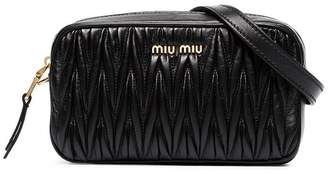 Miu Miu black Matelassé leather belt bag