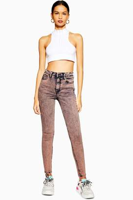 Topshop Womens Peach Acid Neon Wash Jamie Jeans - Tangy Peach
