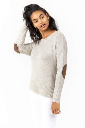 francesca's Micah Elbow Patch Sweater - Heather Gray