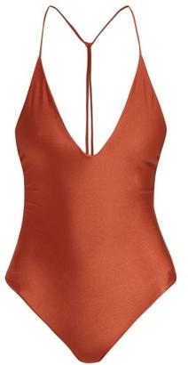 JADE SWIM Vertical Back V Neck Swimsuit - Womens - Dark Red