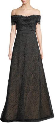 Rene Ruiz Textured Off-the-Shoulder Ball Gown