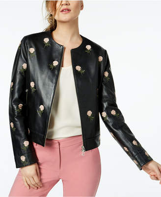 Marella Chimono Embroidered Leather Jacket