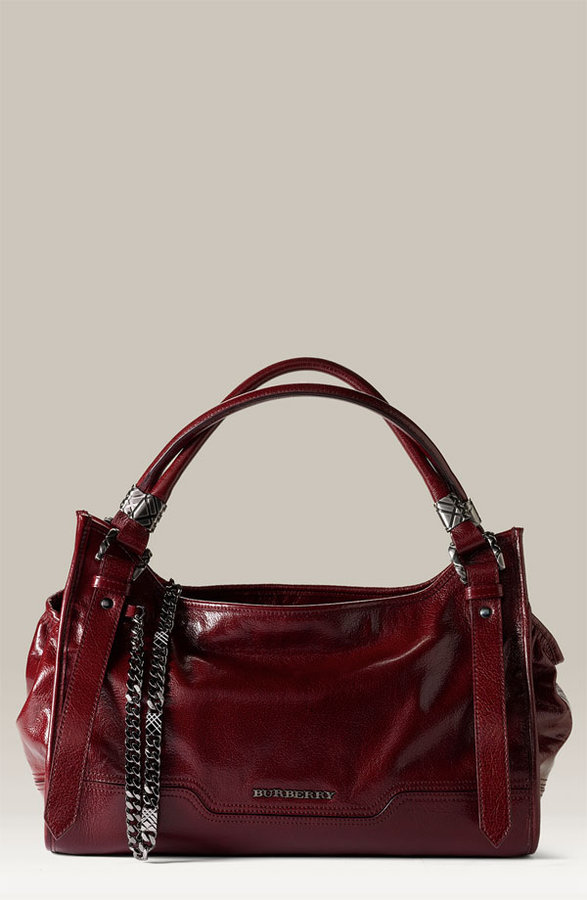 Burberry Chain Detail Leather Satchel