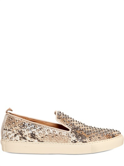 Giacomorelli Spiked Python Printed Low Sneakers