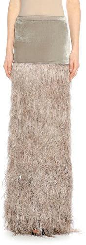 Tom FordTOM FORD Feather-Embellished Column Maxi Skirt, Slate/Beige