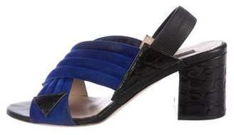 Chrissie Morris Suede Crossover Sandals