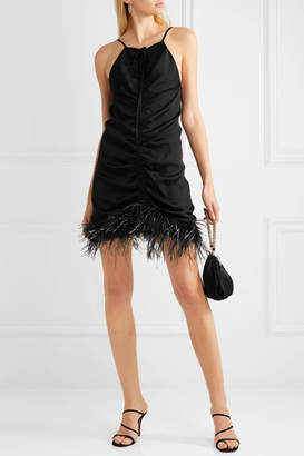 Alice McCall Favour Feather-trimmed Ruched Satin Mini Dress - Black