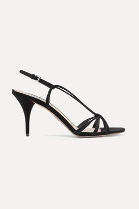 Prada 85 Suede Slingback Sandals - Black