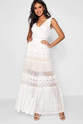 boohoo NEW Womens Boutique Lace Panelled Detail Maxi Dress in Polyester