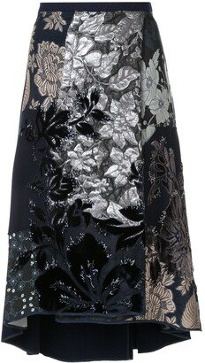 Biyan embroidered asymmetrical skirt