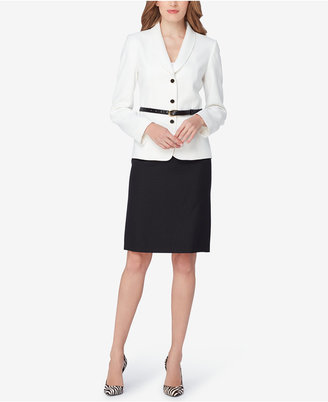 Tahari ASL Belted Colorblocked Skirt Suit $280 thestylecure.com