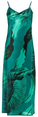F.R.S For Restless Sleepers F.R.S – For Restless Sleepers Toosa Palm Print Satin Slip Dress - Womens - Green Multi