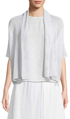 Eileen Fisher Organic Linen Open-Weave Short Cardigan