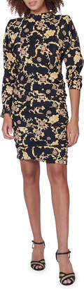 Veronica Beard Amile Ruched Silk Long-Sleeve Dress