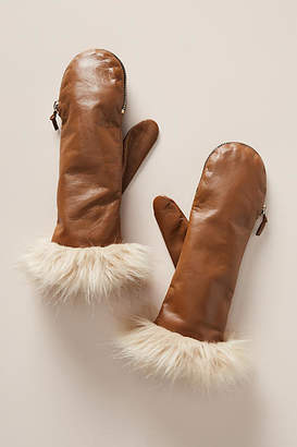Anthropologie Faux Fur Cuff Mittens